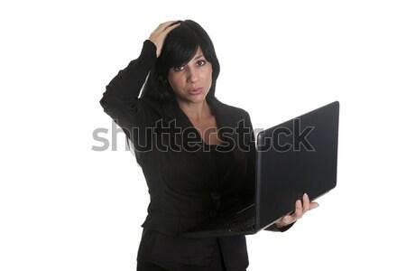 Culpa pc mulher usando laptop menina Foto stock © jarp17