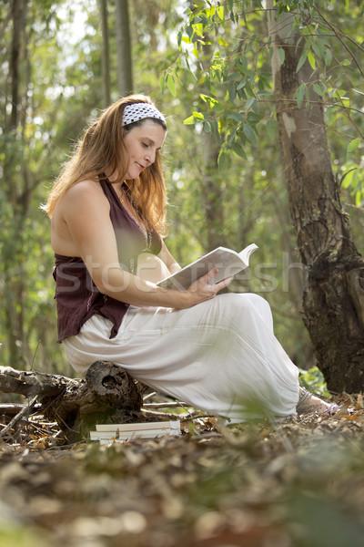 Gebelik kitap hamile kadın güzel orman sonbahar Stok fotoğraf © jarp17