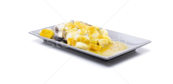 Szelet marinált mártás krumpli citromsárga fehér Stock fotó © jarp17
