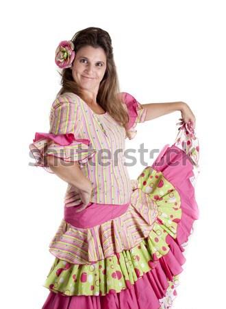 Flamenko dans kız İspanyolca kostüm elbise Stok fotoğraf © jarp17