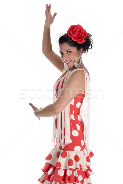 Dans dansçı flamenko tipik kostüm güney Stok fotoğraf © jarp17