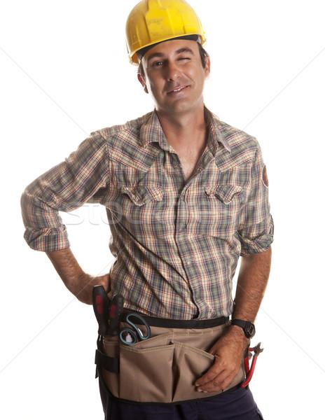 Mrugnięcie jeden pracownik budowlany szczęśliwy pracy Zdjęcia stock © jarp17