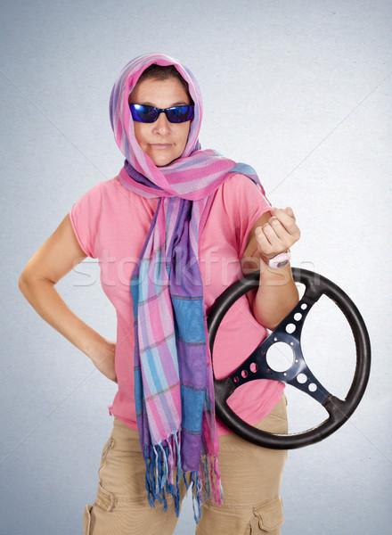 Nő autó vezetés szemüveg sebesség Stock fotó © jarp17
