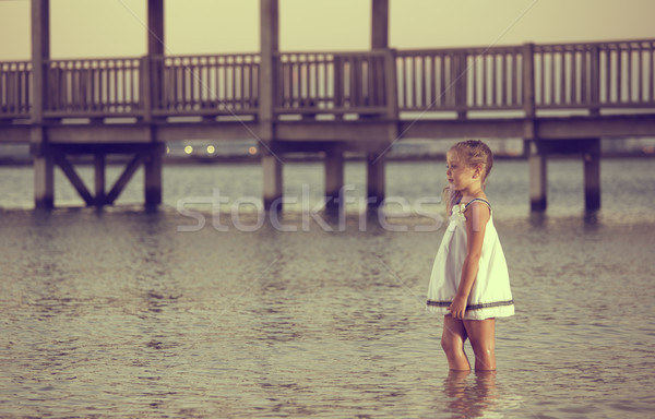 посмотреть пляж красивая девушка позируют закат детей Сток-фото © jarp17