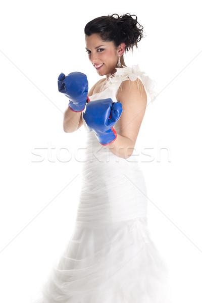 Menyasszony boxkesztyűk felirat küzdelem nő divat Stock fotó © jarp17
