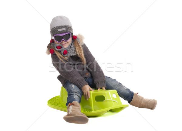 Oynamak çocuk kız kar kış Stok fotoğraf © jarp17