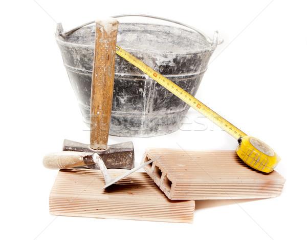 кирпичная кладка инструменты несколько используемый строительство здании Сток-фото © jarp17