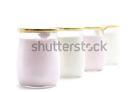 Joghurt eper természetes egészséges finom desszert Stock fotó © jarp17