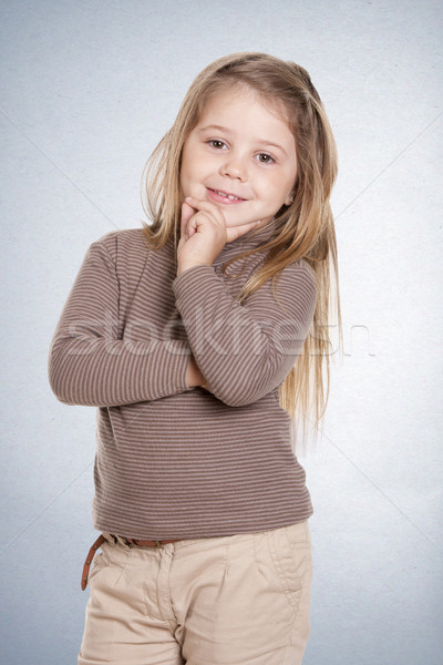 Kız düşünme güzel kız yıl poz mutlulukla Stok fotoğraf © jarp17