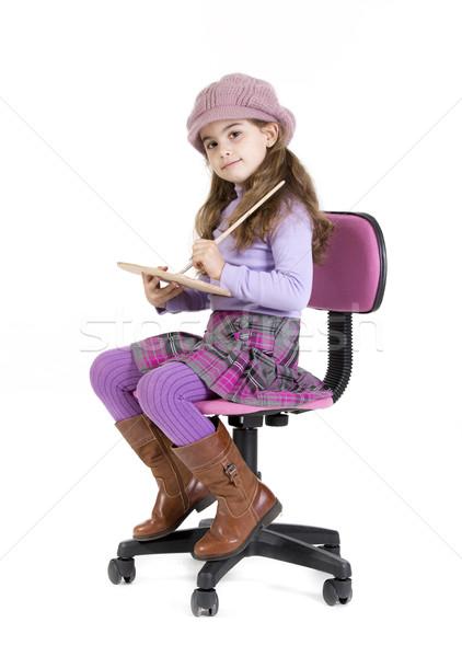 Pittore ragazza giovane ragazza seduta palette colori Foto d'archivio © jarp17