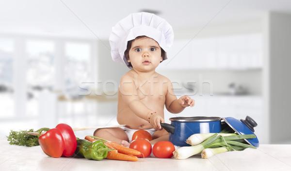 Chef baby keuken klein heerlijk gezonde voeding Stockfoto © jarp17