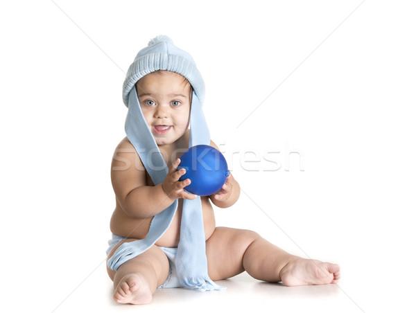 Bebek yalıtılmış top küçük kız oynama mavi Stok fotoğraf © jarp17