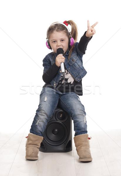Rapper győzelem lány hallgat zene rap Stock fotó © jarp17