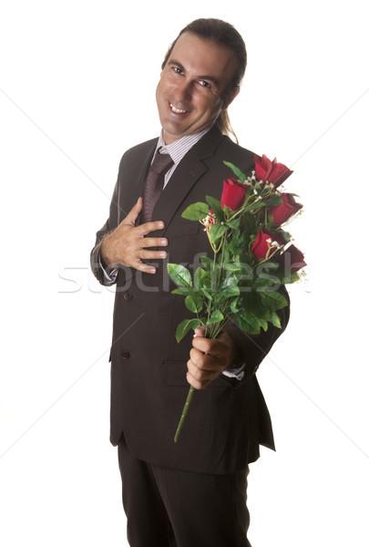 Nyilatkozat szeretet férfi virágok kéz mosoly Stock fotó © jarp17