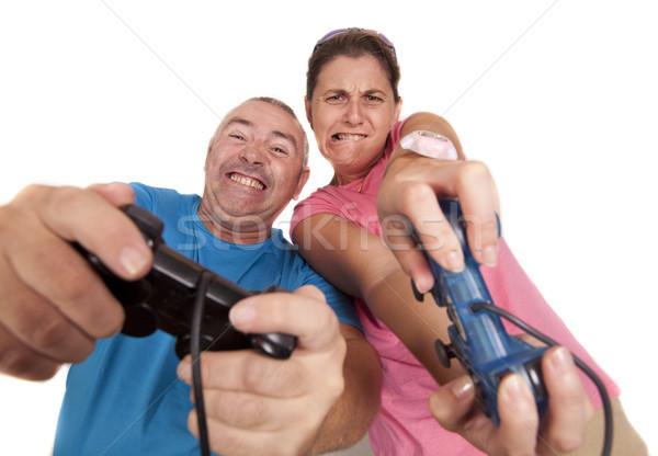 Kazanmak çift oynama video oyunu kadın adam Stok fotoğraf © jarp17