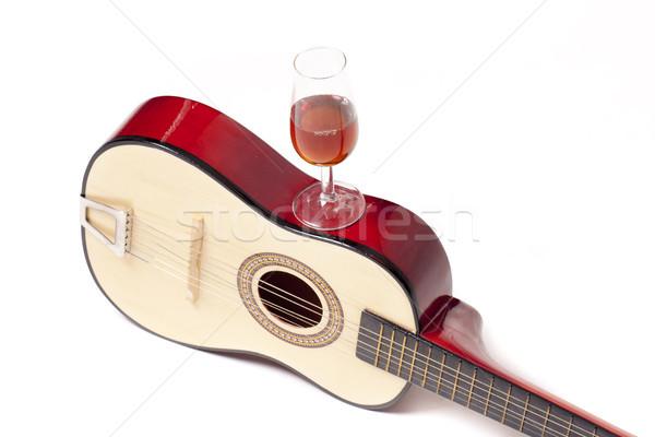 Typowy hiszpanski gitara szkła wina dwa Zdjęcia stock © jarp17