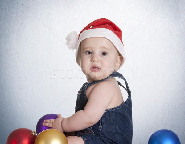 Azul natal bebê pequeno jogar decorações Foto stock © jarp17