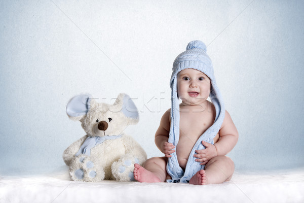 Baby blau wenig Favoriten Teddy Kind Stock foto © jarp17