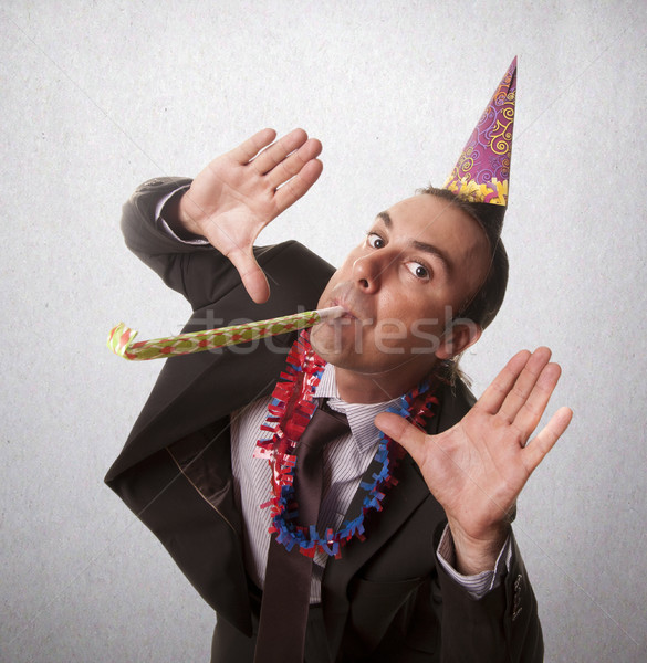 Festa ano novo moço feliz diversão natal Foto stock © jarp17