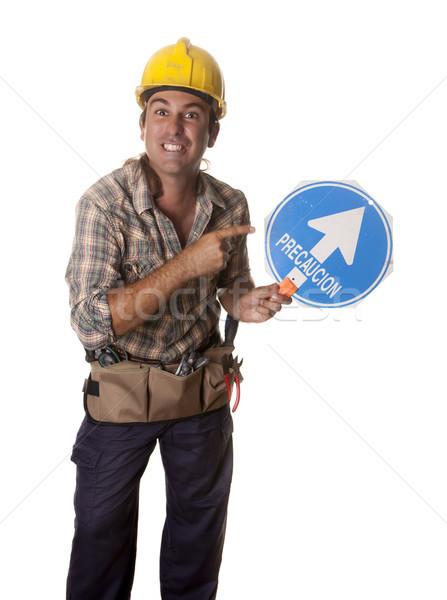 Signal trafic travailleur direction affaires Photo stock © jarp17