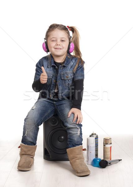 Rapper kacsintás lány hallgat zene rap Stock fotó © jarp17