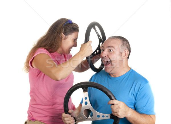 Forgalom baleset férfi nő pár sebesség Stock fotó © jarp17