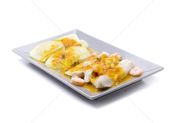 желтый соус креветок картофель рыбы белый Сток-фото © jarp17