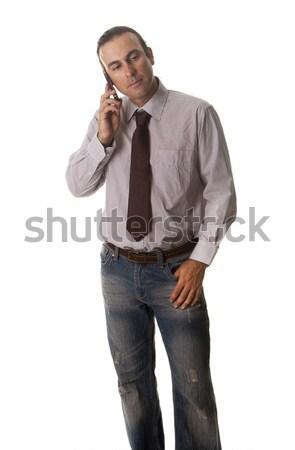 çağrı cep telefonu yakışıklı genç telefon teknoloji Stok fotoğraf © jarp17