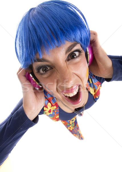 Hippie cuffie ragazza colorato costume Foto d'archivio © jarp17