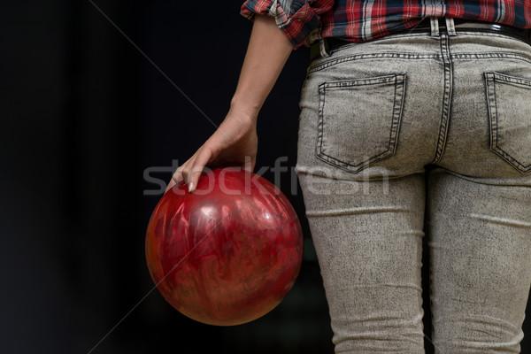 Közelkép fenék bowling golyó fenék bowling játszik Stock fotó © Jasminko