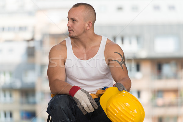 建設作業員 ブレーク 仕事 リラックス 新鮮な空気 ストックフォト © Jasminko