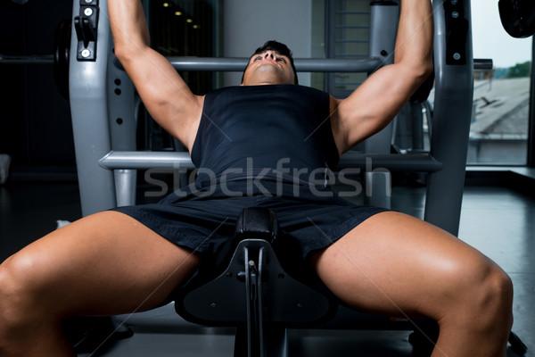 Gewichtheffer sport lichaam mannen oefening donkere Stockfoto © Jasminko