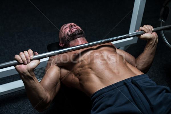 çaba bank basın olgun adam spor salonu egzersiz Stok fotoğraf © Jasminko