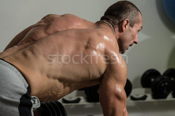 Geri egzersiz sağlıklı adam spor salonu Stok fotoğraf © Jasminko