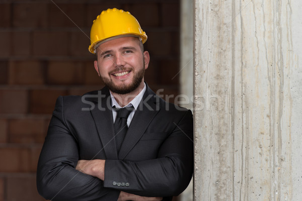 Portrait Of Happy Young Foreman With Hard Hat Stock photo © Jasminko