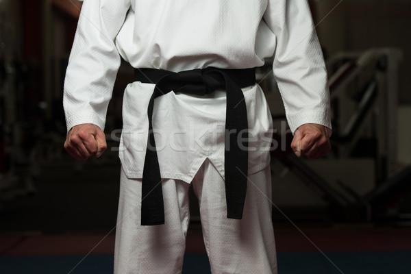 Adam siyah kemer beyaz kimono Stok fotoğraf © Jasminko