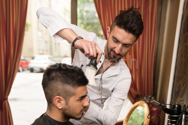 Salon de coiffure cheveux noirs ciseaux élégant jeunes nouvelle Photo stock © Jasminko