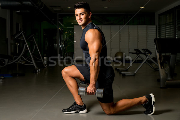 man workout posture body building exercises weight training Stock photo © Jasminko