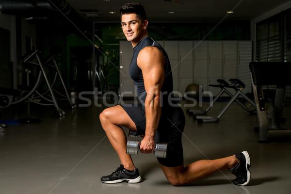 男 トレーニング ボディービル ジム 肖像 ストックフォト © Jasminko