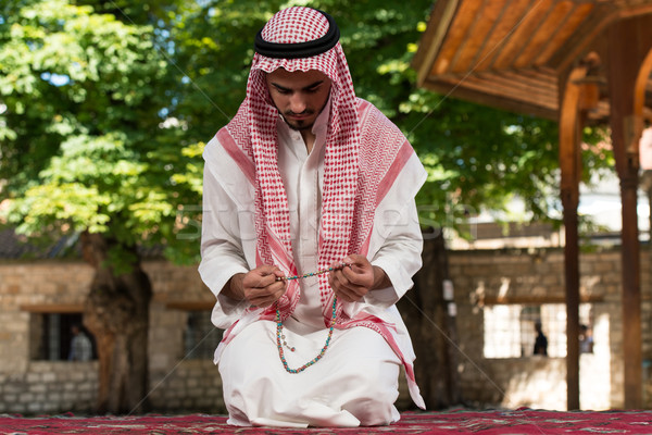 Gebed moskee jonge moslim man Stockfoto © Jasminko