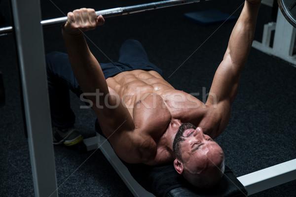Stockfoto: Borst · training · bank · druk · volwassen · man · gymnasium