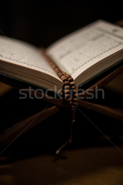 pages of holy koran and rosary at the book Stock photo © Jasminko