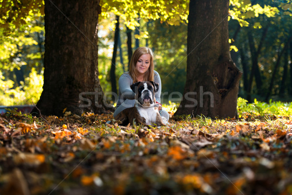 Happy Pretty Woman With German Boxer Stock photo © Jasminko