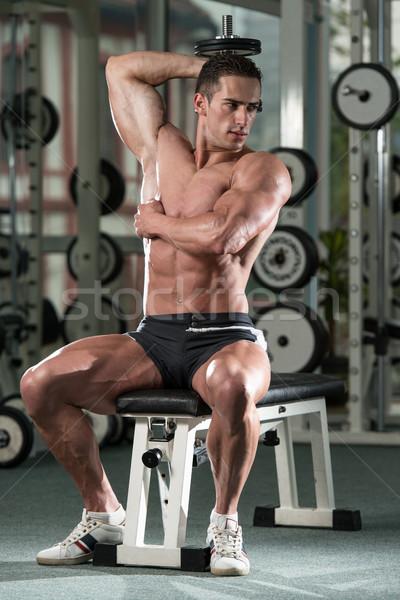 Bodybuilder triceps haltères jeunes athlète Photo stock © Jasminko