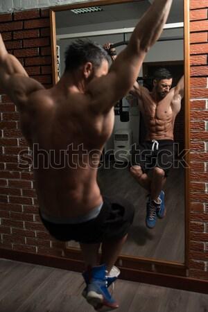 Képzés tornaterem partner bátorítás férfi sport Stock fotó © Jasminko