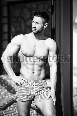 Cardio tempo bonito muscular homem saltando Foto stock © Jasminko