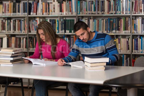 Zdjęcia stock: Młodych · studentów · biblioteki · portret · mądry