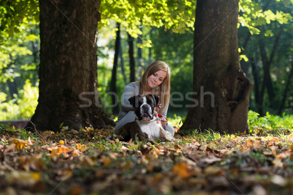 Women And Her German Boxer Stock photo © Jasminko