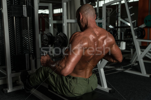 Mature Bodybuilder Doing Heavy Weight Exercise For Back Stock photo © Jasminko