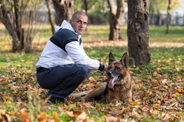 Man And His Dog German Shepherd Stock photo © Jasminko